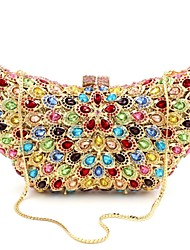 Women's Fashion Butterfly Design Rhinestone Crystal Clutch Bag with Chain