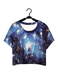 Damen Solide Street Schick / Aktiv Lässig/Alltäglich T-shirt,Rundhalsausschnitt Sommer Kurzarm Blau Polyester Mittel