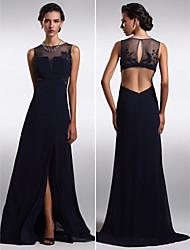 TS Couture Formal Evening Dress - Dark Navy Plus Sizes / Petite Sheath/Column Jewel Floor-length Chiffon / Tulle