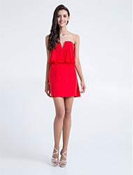 regreso al hogar corto / mini vestido de la dama de honor de gasa - rubí vaina / columna strapless