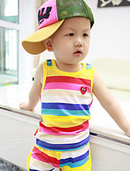 Boy's Summer Colorful Stripes Sleeveless Clothing Sets (Cotton)
