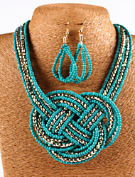 European and American fashion Bohemian knitting m bead necklace set # 0252