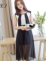 Damen Kleid  -  Mehrschichtig/Rüsche Asymmetrisch Chiffon/Organza/Strickware/Elasthan/Polyester Ärmellos V-Ausschnitt