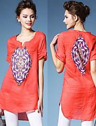 Women's Round Tops & Blouses , Linen Casual/Work Short Sleeve summer