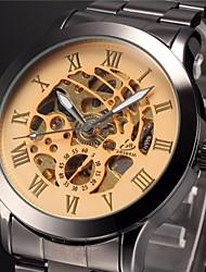 Men's Auto-Mechanical Fashion Hollow Dial Black Steel Band Wrist Watch Cool Watch Unique Watch