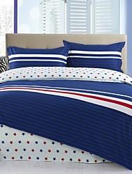 Blue/White Strip Cotton Bedding Set of 4pcs Queen Size