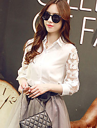 Women's Casual/Lace Inelastic ¾ Sleeve Regular Shirt (Chiffon/Lace/Spandex)