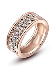 Z&X® Simple Rose Gold Zircon Band Rings Wedding/Party/Daily