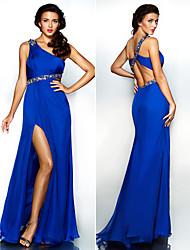 Dress Sheath/Column One Shoulder Floor-length Chiffon