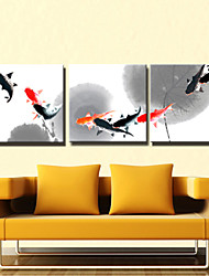 VISUAL STAR®3 panel Animal Fish Chinese Painting Canvas Wall Art for Kitchen Decor Ready to Hang