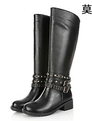 Women's Shoes Leather Chunky Heel Fashion Boots/Combat Boots Boots Office & Career/Casual Black