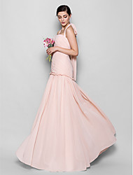 Lanting Bride® Floor-length Chiffon Bridesmaid Dress - Fit & Flare Halter Plus Size / Petite with Criss Cross