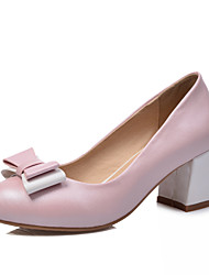 Women's Shoes Chunky Heel Round Toe/Heels Office & Career/Party & Evening/Casual Blue/Pink/White