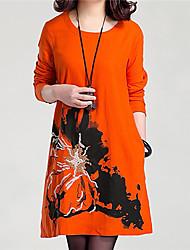 Women's Casual/Daily Swing Dress,Print Round Neck Above Knee Long Sleeve Blue / Beige / Orange Cotton Summer