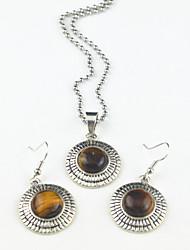 toonykelly® do vintage tigre de prata antigo ametista lava negra (brinco e colar) Conjunto de jóias