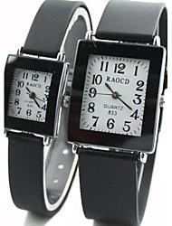 Couple's Square Dial Black Rubber Band Quartz Wrist Watch Cool Watches Unique Watches Fashion Watch