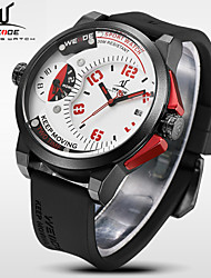 WEIDE Men Universe Series Sports Dual Time Zones Black Silicone Strap Quartz Wrist Watch