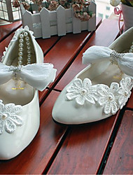 Women's Shoes Leather Flat Heel Pointed Toe Flats Wedding/Party & Evening White