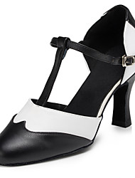 Non Customizable Women's Dance Shoes Modern Flocking Flared Heel Black