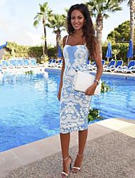 Dominic Women's Print Blue Dresses , Bodycon / Print Straps Sleeveless