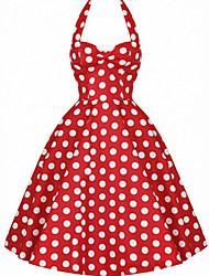 Robe Aux femmes Trapèze Soirée , Points Polka Licou Midi Mélanges de Coton