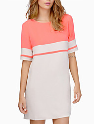 Women's Round Dresses , Chiffon Casual/Work Short Sleeve Card na