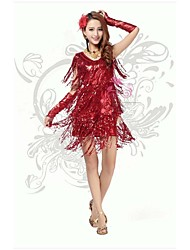 Latin Dance Dresses Women's Performance/Training Polyester/Milk Fiber Sequins/Side-Draped/Tassel(s) 1 Piece
