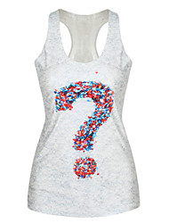 PinkQueen® Women's Polyester/Spandex Question Mark Printed Tank Top