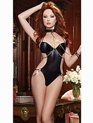 Women's Sexy Patent Leather Racy Lingerie One-Piece Uniforms Ultra Sexy Nightwear