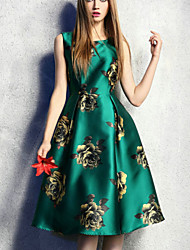 Women's Green Dress , Print Sleeveless