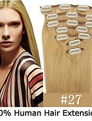 22inch 7pcs / set 120g clip-in hair remy human hair extensions 12 kleuren voor vrouwen schoonheid