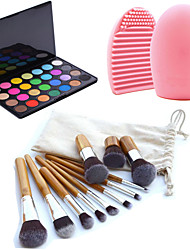 11pcs kits de cepillos del maquillaje de cejas cosméticos fundación kabuki + 28 colores Paleta Sombra de Ojos + cepillo herramienta de