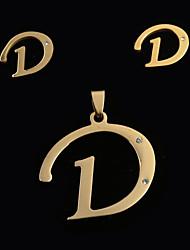 Europeus e americanos moda d letter um pingente letras e ouvido pregos set (sem colar)