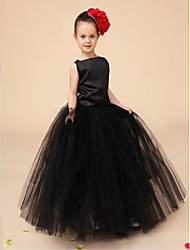 Flower Girl Dress Floor-length Satin/Tulle Ball Gown Sleeveless Dress(Headpiece Include)