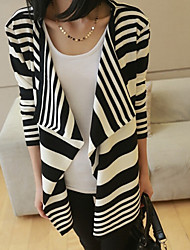 Women's Classical Stripe Irregular Long Sleeve Loose Cardigan More Ways