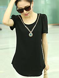 Women's Long Section of Large Size Slim Thin Short-Sleeved Chiffon Shirt Lady