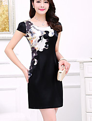 Women's Vintage Plus Sizes Micro Elastic Short Sleeve Above Knee Dress (Silk)