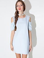 Women's American Apparel Contrast Color Off The Shoulder Cowboy Dress