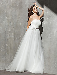 Lanting Bride® A-line Petite / Plus Sizes Wedding Dress Sweep / Brush Train Strapless Tulle with