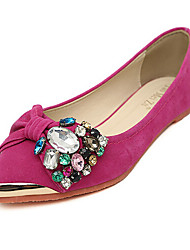 Women's Shoes Suede Flat Heel Pointed Toe Flats Casual Black/Blue/Pink/Red