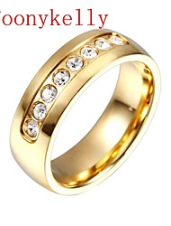 Toonykelly® Fashionable Gold Plated Crystal Rhinestone Unadjustable Ring(1PC)