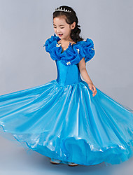 A-line Floor-length Flower Girl Dress - Satin / Tulle Sleeveless Queen Anne with
