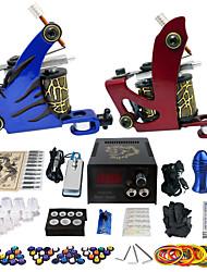 Solong Tattoo Beginner Tattoo Kit 2 Pro Machine Guns Power Supply Needle Grips Tips