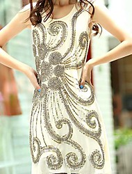 Women's Mesh Floral Sequined Knee Length Casual Or Mini Evening Dress
