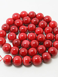 Beadia 38Cm/Str (Approx 38PCS) 10mm Round Red Coral Beads Dyed Red Color Coral Loose Beads DIY Accessories
