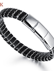 OPK®Stainless Steel Magnetic Buckle Leather Personality Alternative Men's Bracelet