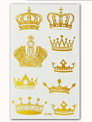 2015 New Metallic Tattoos Crown Design Temporary Tattoo Body Art Gold Tatto Flash Tatoo Stickers