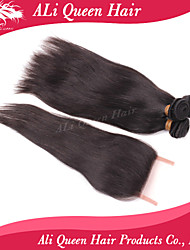 Ali Queen Hair Products 3Pcs 6A Malaysian  Hair Straight With 1Pcs 4*4 Swiss Lace Closures 100% human hair