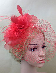 Femme Plume Filet Casque-Mariage Occasion spéciale Coiffure Fleurs Voile de cage à oiseaux 1 Pièce