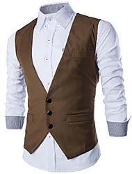 care,Men's V-Neck Vests , Cotton / Rayon Sleeveless Casual / Party Fashion Fall care